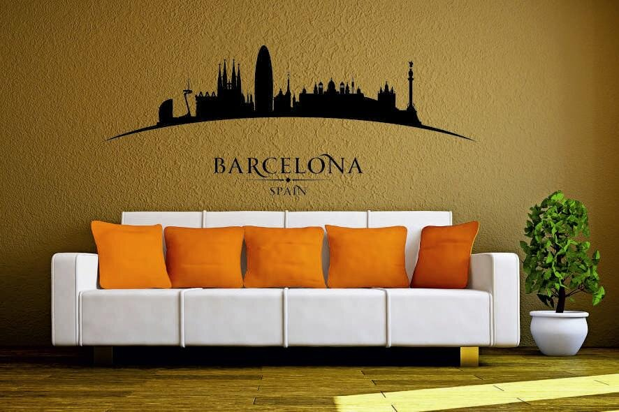 wandtattoo barcelona skyline gebogen. Black Bedroom Furniture Sets. Home Design Ideas