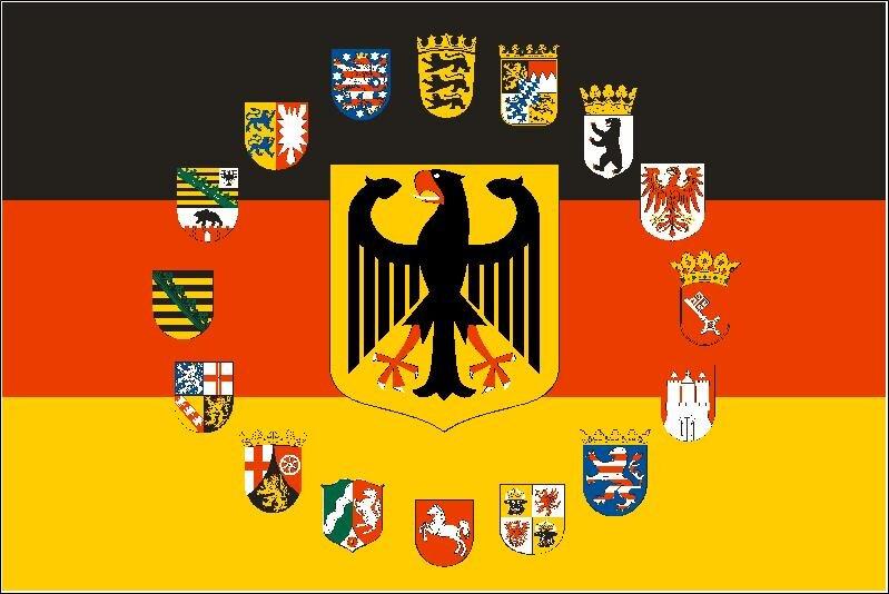 fahne deutschland adler mit 16 bundesl nder wappen 90 x 150 cm. Black Bedroom Furniture Sets. Home Design Ideas