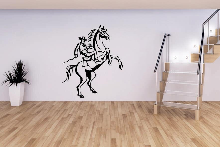 wandtattoo cowboy auf pferd. Black Bedroom Furniture Sets. Home Design Ideas