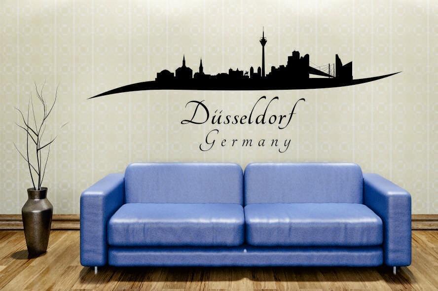 Wandtattoo d sseldorf skyline geschwungen - Dusseldorf wandtattoo ...