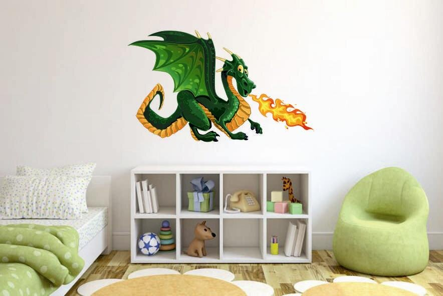 wandtattoo feuerspuckender drache color m. Black Bedroom Furniture Sets. Home Design Ideas