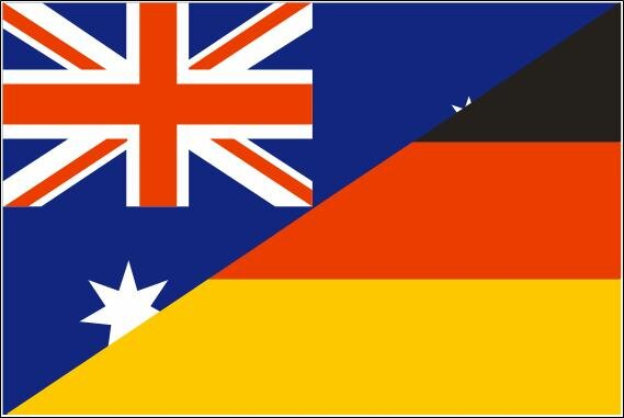 fahne deutschland australien freundschaftsflagge 90 x 150 cm. Black Bedroom Furniture Sets. Home Design Ideas