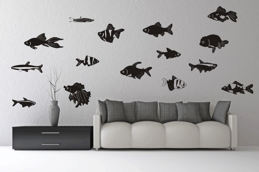 wandtattoo fische set motiv nr 2. Black Bedroom Furniture Sets. Home Design Ideas