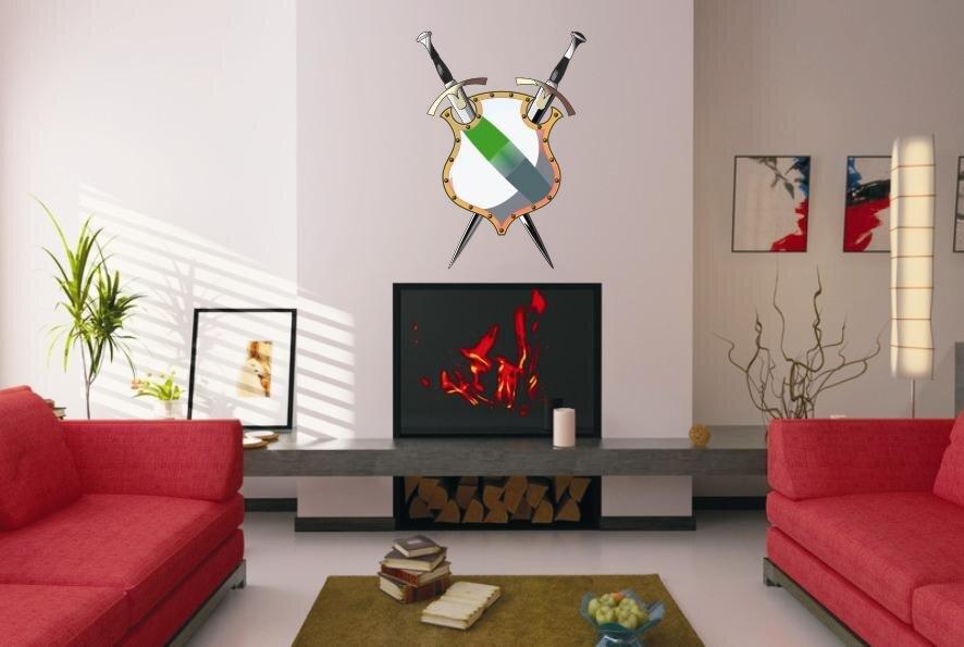 wandtattoo gekreuzte schwerter mit schild. Black Bedroom Furniture Sets. Home Design Ideas