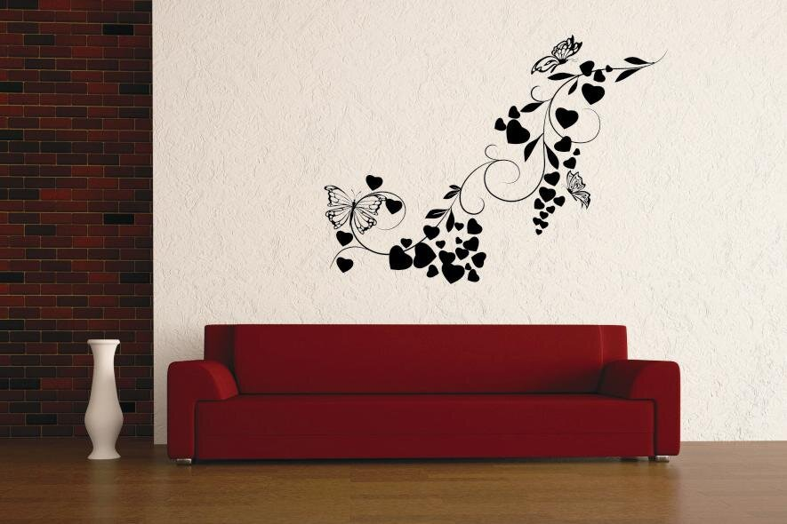 wandtattoo heart flowers. Black Bedroom Furniture Sets. Home Design Ideas