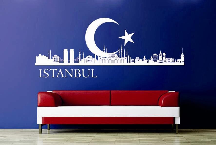 wandtattoo istanbul skyline mit halbmond. Black Bedroom Furniture Sets. Home Design Ideas