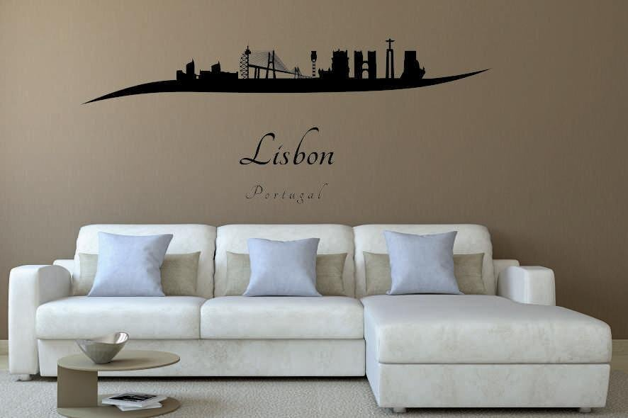 wandtattoo lissabon skyline geschwungen. Black Bedroom Furniture Sets. Home Design Ideas