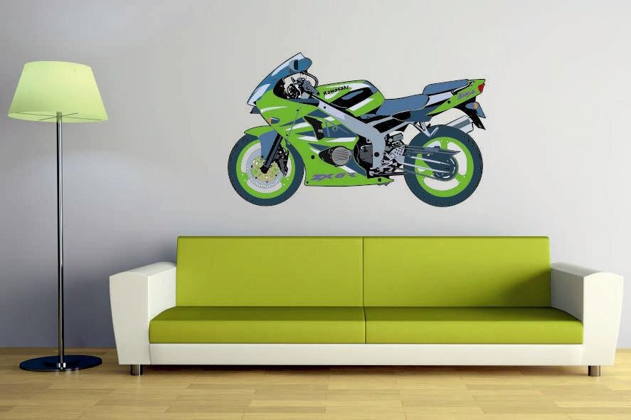 wandtattoo motorrad color motiv nr 3. Black Bedroom Furniture Sets. Home Design Ideas
