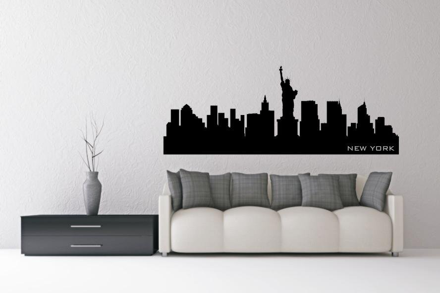 wandtattoo new york skyline schwarz s. Black Bedroom Furniture Sets. Home Design Ideas