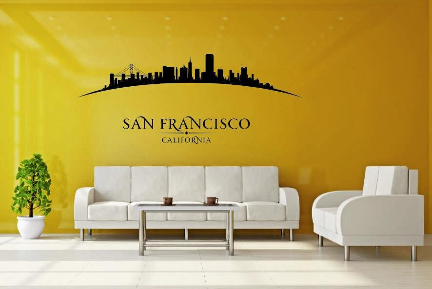 wandtattoo san francisco skyline gebogen. Black Bedroom Furniture Sets. Home Design Ideas