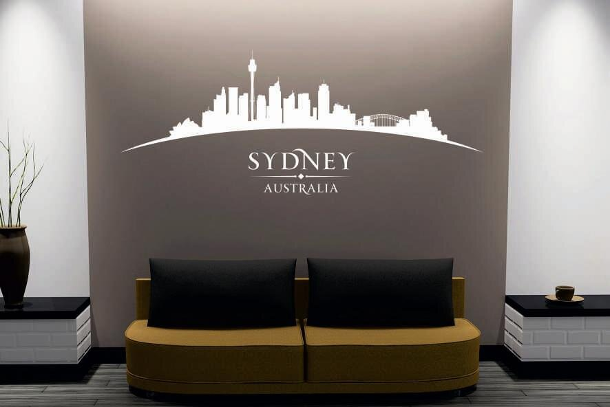 wandtattoo sydney skyline gebogen. Black Bedroom Furniture Sets. Home Design Ideas