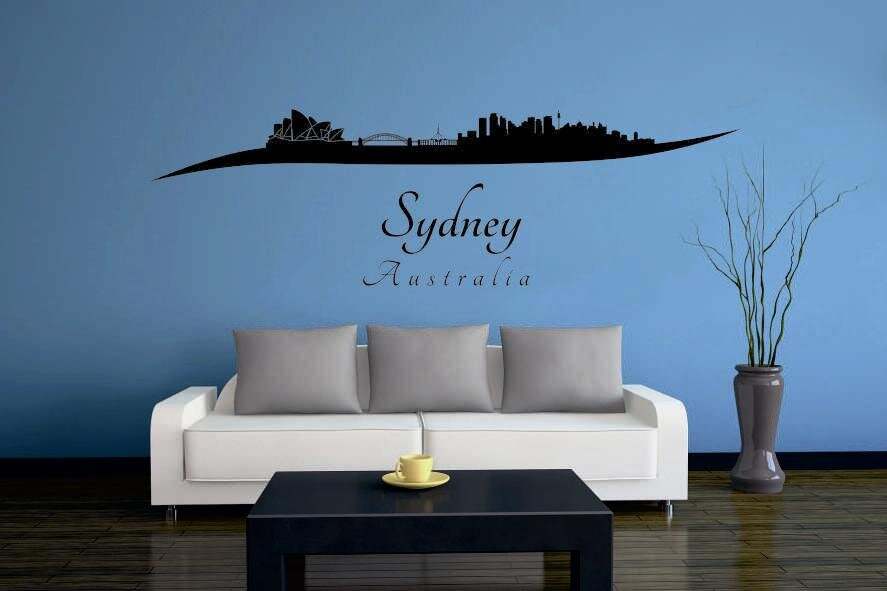 wandtattoo sydney skyline geschwungen. Black Bedroom Furniture Sets. Home Design Ideas