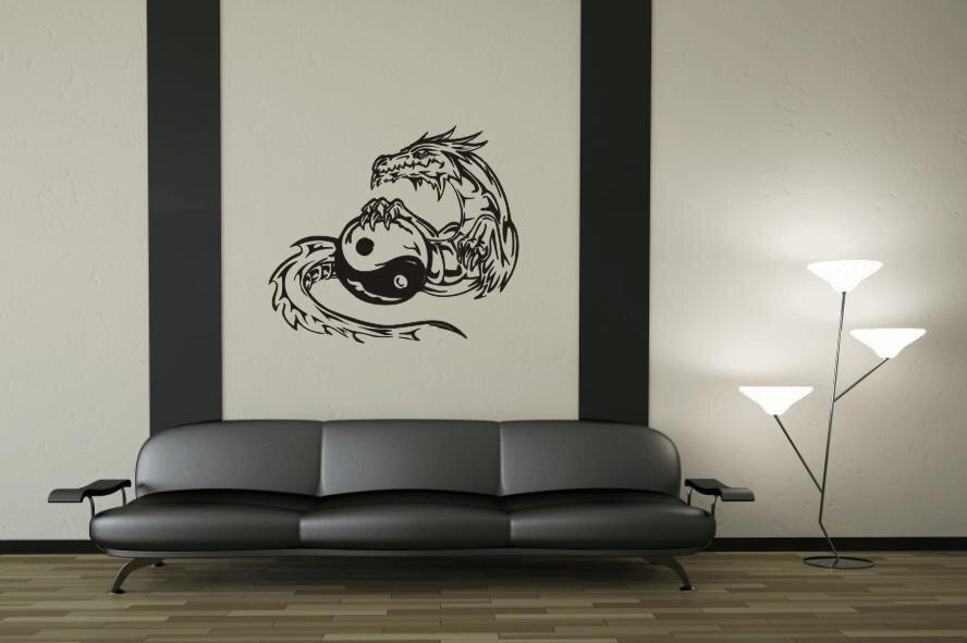 wandtattoo yin yang drache motiv nr 3. Black Bedroom Furniture Sets. Home Design Ideas